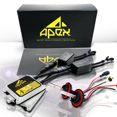 """Apex HID Xenon Conversion Kit """"All Bulb Sizes and Colors"""" with Premium Slim Ballasts (h11, 8k ice blue)"""