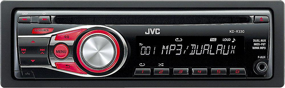 The JVC Single-Din KDR-330 Car Stereo Receiver