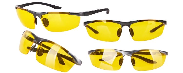 four night driving glasses in white background